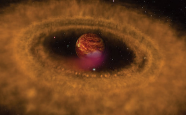 GOING ROGUE  A disk of gas and dust swirls around OTS 44, a rogue planet shown in this artist's illustration. It may have formed the same way stars are made.